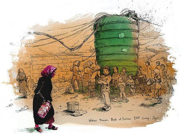 Molly Crabapple's depiction of displaced Syrians at a camp south of the Turkish border.