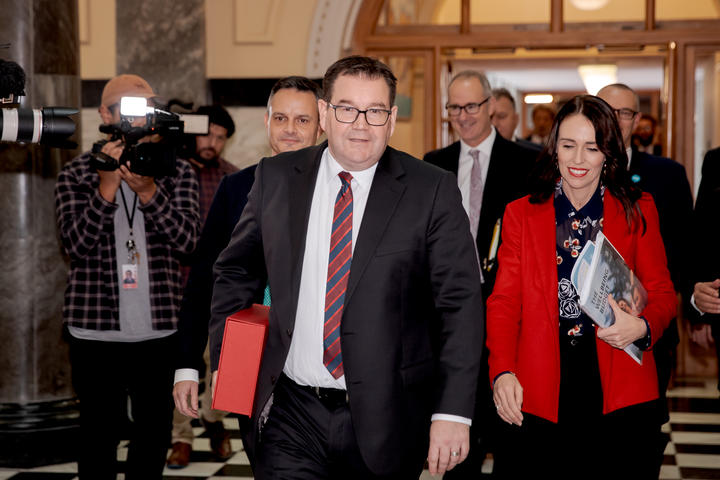 Grant Robertson and Jacinda Ardern arrive for the release of Budget 2019.