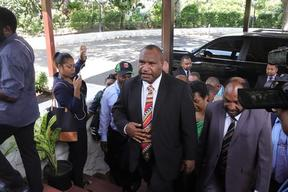 James Marape (centre) the newly elected prime minister of Papua New Guinea. 30 May 2019