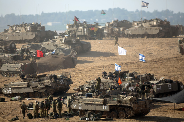 Israeli soldiers near the border with the Gaza Strip.