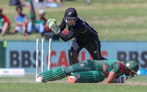 Black Caps wicketkeeper Tom Latham pulls off a stumping in an ODI against Bangladesh.