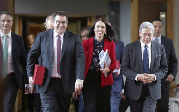 Grant Robertson, Jacinda Ardern, Winston Peters and James Shaw leave the budget lock-up.