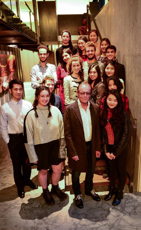 Sir Michael Hill with the quarter-finalists in the Michael Hill International Violin Competition 2019