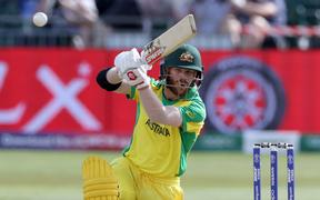 David Warner bats during the Cricket World Cup match between Australia and Afghanistan at Bristol.