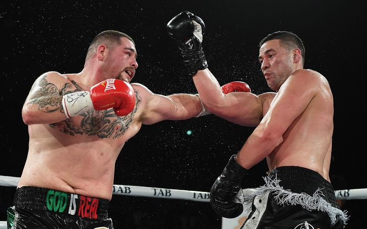 Andy Ruiz Jr (left) in action against Joseph Parker two years ago