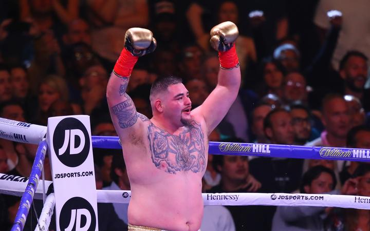 Andy Ruiz Jr of California celebrates after defeating Anthony Joshua of England to win the World Heavyweight Championship fight.