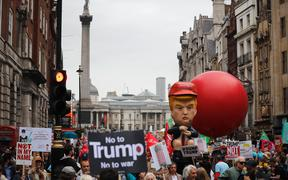 Demonstrators protest against the visit of US President Donald Trump in London.