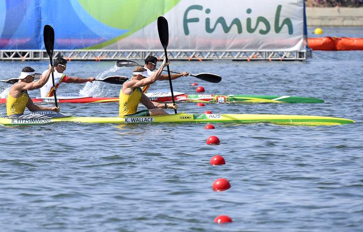 Australia's Chef de Mission for the 2019 Pacific Games Ken Wallace (c) competing in the men's K4 1000m semi-final during the Rio 2016 Olympic Games.