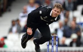 Lockie Ferguson bowls during the Cricket World Cup 2019 match between New Zealand and Bangladesh at The Oval.