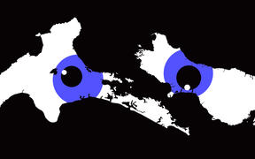 sideways white map of NZ on black background with blue graphic eyes peering through.