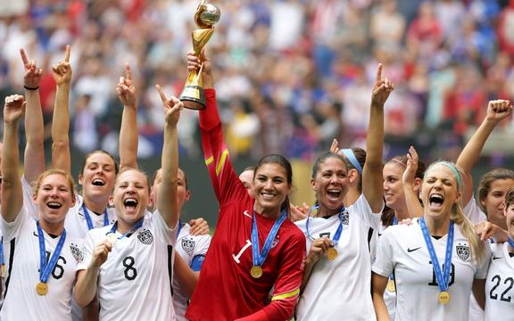 Hope Solo of USA holds the world cup trophy in the FIFA Women's World Cup 2015.