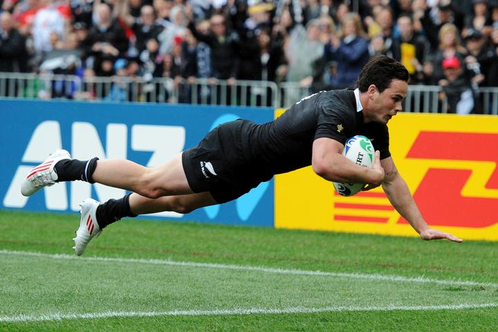 Zac Guilford scores a try during the All Blacks 2011 Rugby World Cup campaign.