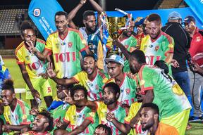 Toti City celebrate their fifth straight PNG National Soccer League title.