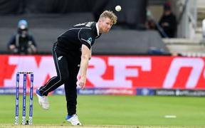 New Zealand's James Neesham bowls during the 2019 Cricket World Cup group stage match between Afghanistan and New Zealand at The County Ground in Taunton.