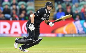 New Zealand's Ross Taylor plays a shot during the 2019 Cricket World Cup group stage match between Afghanistan and New Zealand at The County Ground in Taunton.