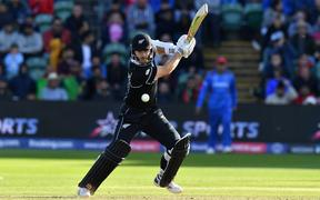 New Zealand's captain Kane Williamson plays a shot during the 2019 Cricket World Cup group stage match between Afghanistan and New Zealand at The County Ground in Taunton.