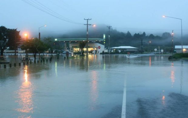 Flooding in Moerewa on Saturday morning.