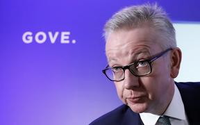 Britain's Environment, Food and Rural Affairs Secretary Michael Gove launches his Conservative Party leadership campaign in London on 10 June 2019.