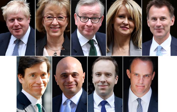 Nine of the 10 contenders in the Conservative Party leadership contest: (top L-R)  Boris Johson, Andrea Leadsom, Michael Gove, Esther McVey, Jeremy Hunt, (bottom L-R)  Rory Stewart, Sajid Javid, Matt Hancock and Dominic Raab.