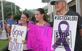 Supporters of a rally against domestic violence in American Samoa