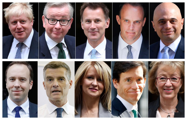 Ten contenders in the Conservative Party leadership contest: (top L-R) Boris Johnson, Michael Gove, Jeremy Hunt, Dominic Raab, Sajid Javid (bottom L-R) Matt Hancock, Mark Harper, Esther McVey, Rory Stewart and Andrea Leadsom.