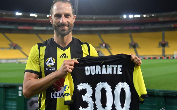 Andrew Durante celebrates his 300th game against the Central Coast Mariners in Wellington in January.