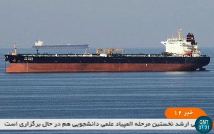 An undated picture obtained by news agency AFP from Iranian State TV reportedly shows the two tankers involved in an incident off the coast of Oman.
