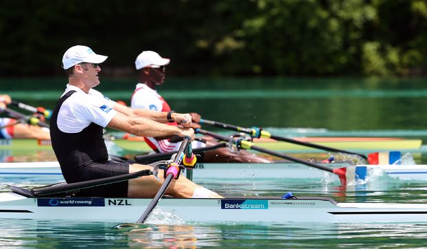 New Zealand rower Mahe Drysdale in action at World Cup in France.