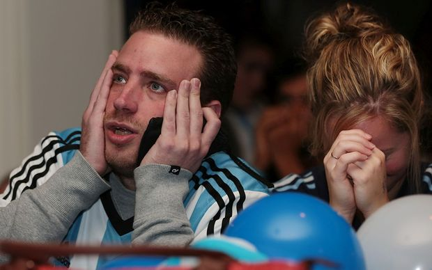 Tense moments for Argentina fans.