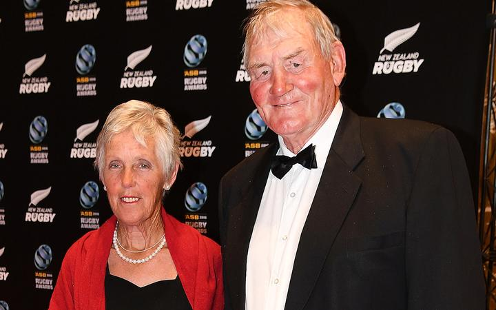 Sir Brian Lochore and wife Lady Pam at the New Zealand Rugby Awards in 2016.