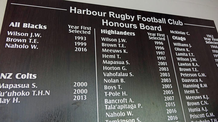 The honours board at Harbour Rugby Club.