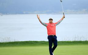 Gary Woodland celebrates winning the 2019 US Open at Pebble Beach.