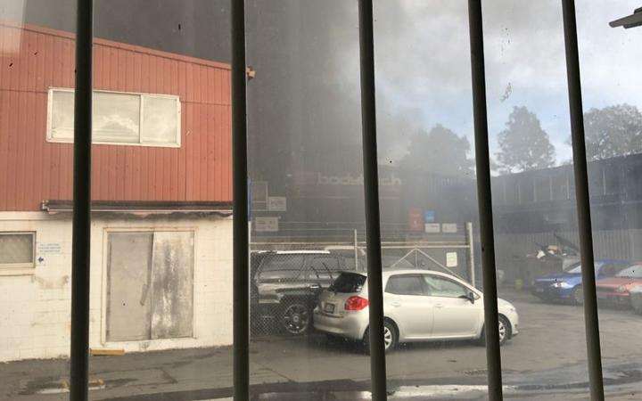 The 'major' fire at a panel beating business in East Tamaki, Auckland.