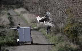 Wreckage of the plane crash in Masterton today.