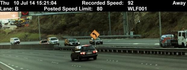 An image from the new police speed camera in Wellington's Ngauranga Gorge.