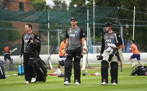 Colin Munro, Tim Southee and Henry Nicholls. Black Caps Training session at Edgbaston.