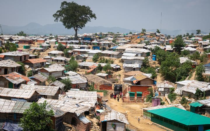 Thousands of Rohingya refugees in a paid labor program to build bridges, drainage infrastructure and reinforce slopes in the Kutupalong and Balukhali refugee camps in Bangladesh.