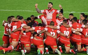 Andrew Fifita leads the Tongan Sipi Tau ahead of the test against Australia in Auckland last year.