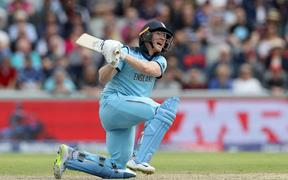 Eoin Morgan hits yet another six during his world record in the Cricket World Cup 2019.