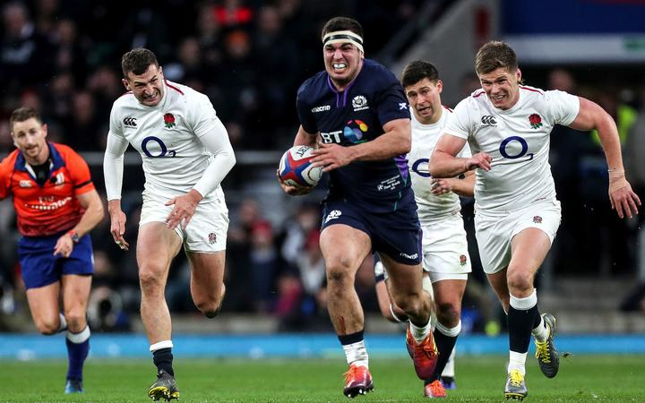2019 Six Nations Scotland's Stuart McInally runs in to score a try.