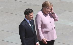 President of Ukraine Volodymyr Selensky with Chancellor Angela Merkel during his inaugural visit to Germany.