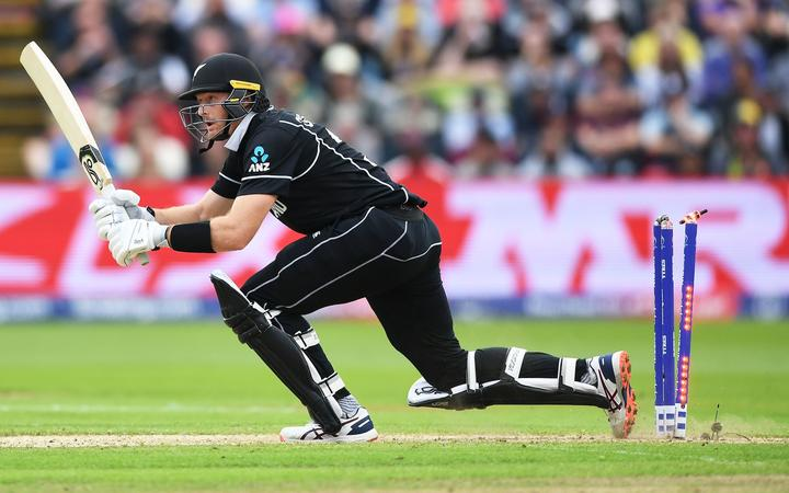Martin Guptill steps back on his wickets and is out during the Black Caps' World Cup match against South Africa.
