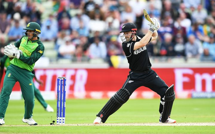 Kane Williamson batting in New Zealand's World Cup match against South Africa.