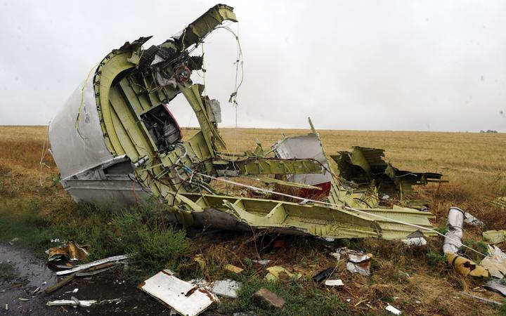 File photo taken on September 09, 2014 shows part of the Malaysia Airlines Flight MH17 at the crash site in the village of Hrabove (Grabovo), some 80km east of Donetsk.