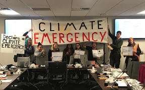 People at the council meeting calling for it to declare a climate emergency.