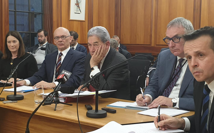 Winston Peters at the select committee today.
