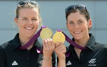 New Zealand's 470 Sailing Gold Medalists Olivia Powrie and Jo Aleh pose for a photo at Olympic Park during the London Olympic Games.