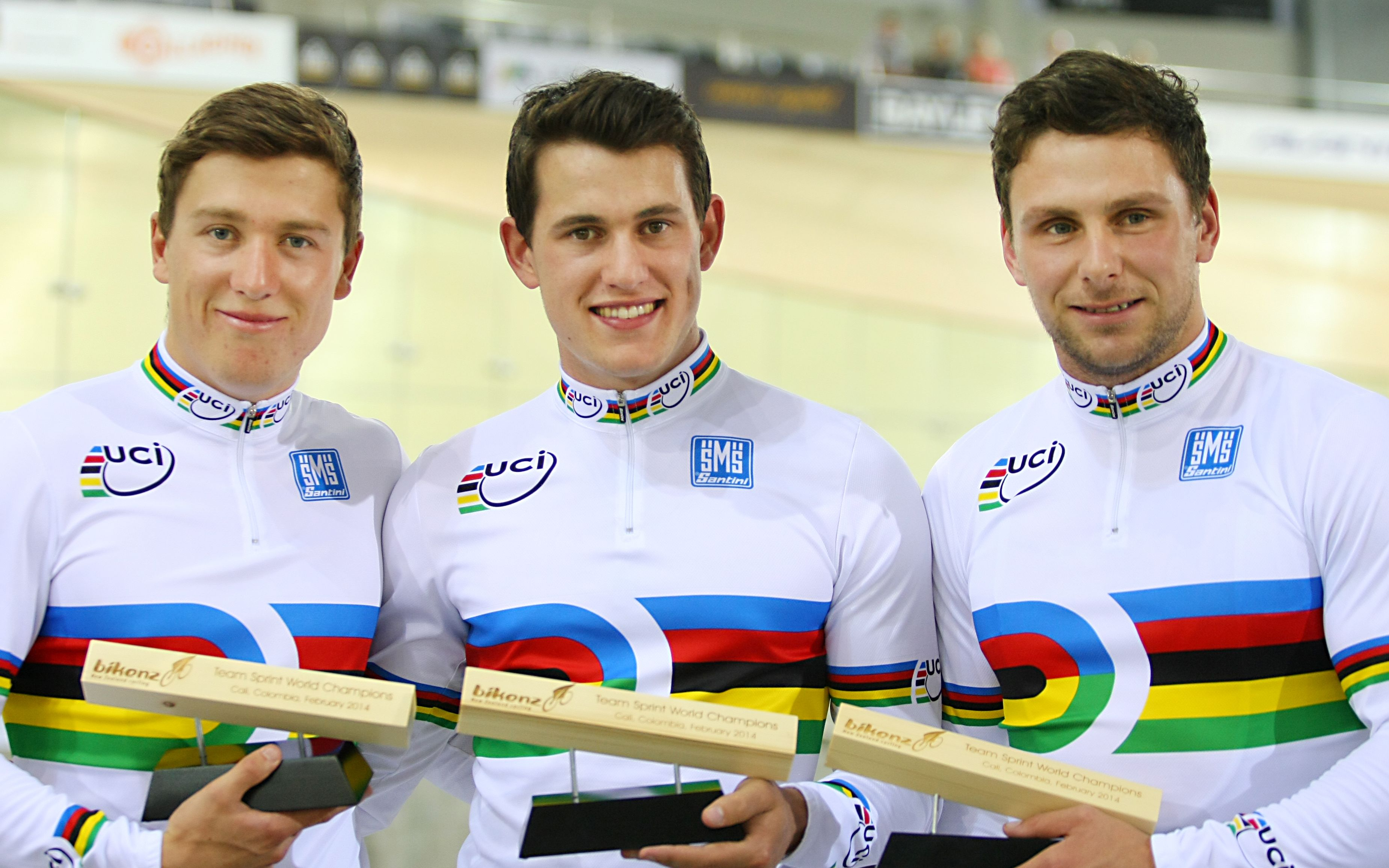 Team sprint world champions, Ethan Mitchell, Sam Webster and Eddie Dawkins.