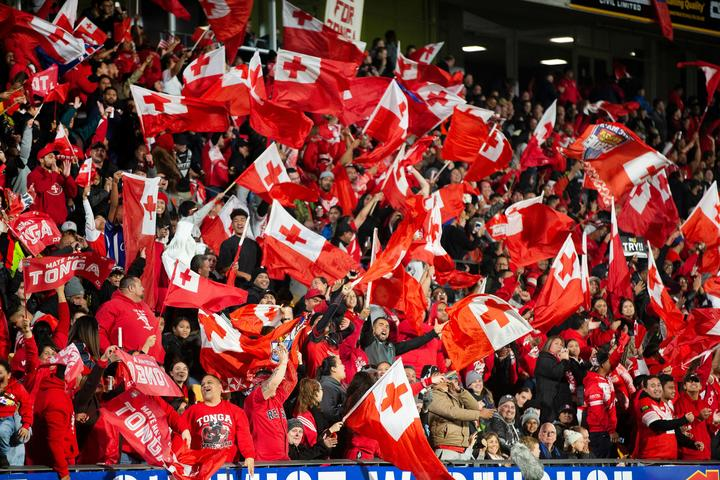 Tongan fans during the rugby league test against New Zealand at Mount Smart Stadium.