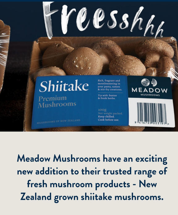 Screenshot of Meadow Mushroom's website which labels them as New Zealand grown.